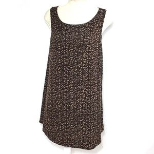 Logo Layers Lori Goldstein Tank Top Tunic Brown L